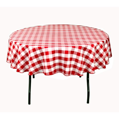Round Polyester Tablecloth Red U0026 White Checker