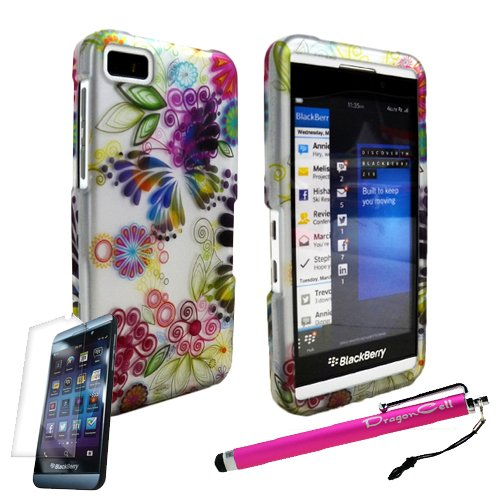 Miniturtle Blackberry Z10 Colorful Butterfly Painting Image Design Hard Case Cover Plus Screen Protector Film And Large Stylus Pen