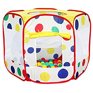 CHILDRENS KIDS SPOTTY COLOURED POP UP BALL PIT PLAY TENT INCLUDING 100 BALLS - INDOOR OUTDOOR