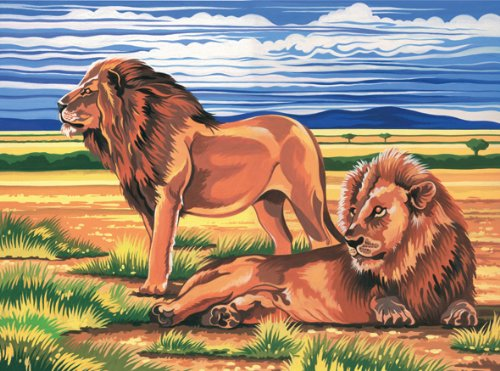 Reeves Resting Lions Acrylic Painting Set by Numbers, Large