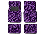 51O4BBCSC8L. SL160  A Set of 4 Universal Fit Animal Print Carpet Floor mats for Cars / Truck   Zebra Purple
