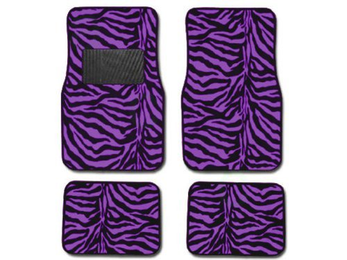 A Set of 4 Universal Fit Animal Print Carpet Floor mats for Cars / Truck - Zebra Purple