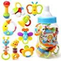 "Baby's First Rattle and Teether Toy 9 Pieces with Giant Baby Bottle Coin Bank Gift Sets - Non-Toxic, BPA, Latex and Phthalate Free Silicone Teethers 5""x13"" Big Size by thebestchoice2016"