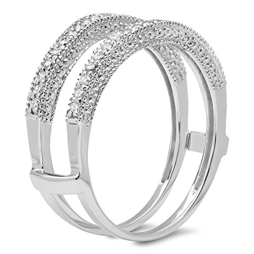 0.45 Carat (ctw) 14K White Gold Diamond Ladies Anniversary Wedding Band 1/2 CT (Size 7)