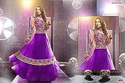 Maruti Creation Women's Georgette Semi-stitched Anarkali Suit Dress Material (MC1026_FREE_SIZE_Purple)