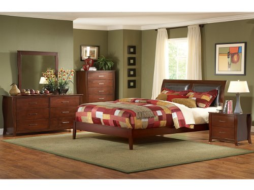 Rivera 5 Pc Upholstered California King Bedroom Set With 2 Nightstand By Homelegance In Brown Cherry front-951663