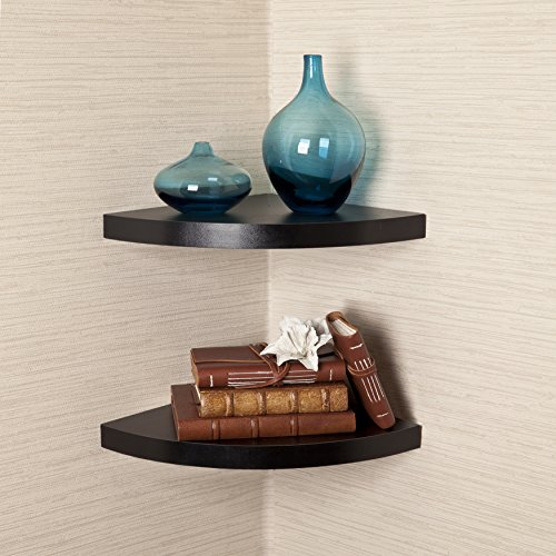 Danya B. Black Laminate Large Radial Corner Wall Shelf Set of 2