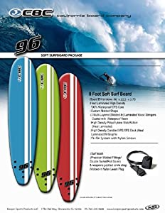 California Board Company CBC Surfboard, 5-Feet x 8-Inch, Assorted