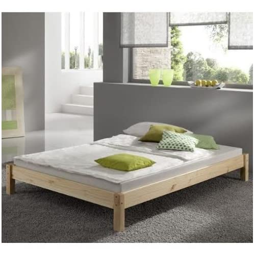 Double Pine Bed 4ft 6 (140cm) Studio Double Bed Wooden Frame with extra wide base slats and centre rail - VERY...