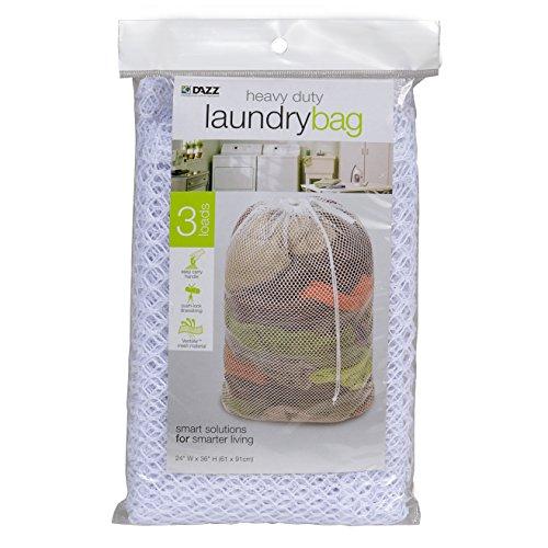 Pro-Mart DAZZ Mesh Laundry Bag with Carry Handlepush-Lock Drawstring Closure, Heavy Duty, White