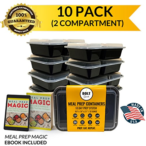 Bolt Goods 2 Compartment DUO Meal Prep Containers (10 Pack 30 Ounce) BPA-Free USA Made Reusable Washable Freezer Microwave Dishwasher Safe, Food Storage Bento Box Bowl with Leak Proof Airtight Lids (Microwave Cover Boa Free compare prices)