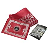 Tabakh Muslim Prayer Rug with Compass Pocket Size Portable Mat, Red/Burgundy
