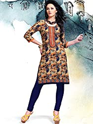 JCM Krishriyaa Cotton Cambric Printed Blue Kurti With L Size