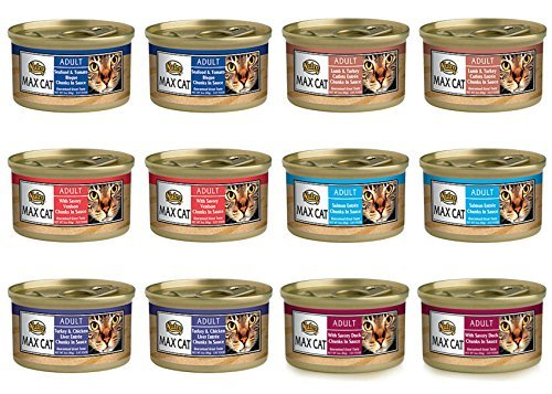 Nutro Max Cat Adult Canned Food 6 Flavor Variety Bundle: (2) Turkey & Chicken Liver, (2) Seafood & Tomato Bisque, (2) Duck, (2) Lamb & Turkey Cutlets, (2) Venison & (2) Salmon, 3 Oz Ea (12 Cans Total) (Nutro Max Canned Cat Food compare prices)