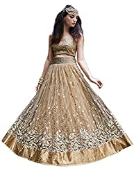 Justkartit Women's Marvellous Semi-Stitched Beige Colour Stylish Lehenga / Wedding wear & Party Wear Collection With Heavy Embroidery And Jacquard Lace.