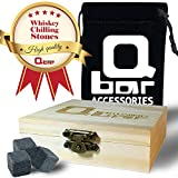 Q bar Accessories Whiskey Stones - Gift box w' 9 black Basalt Cube Chilling Rocks - Velvet Storage Pouch - Liquor and Wine Cooler - No More Taste Of Water - Premium Wooden Box - Free Ebook Bonus