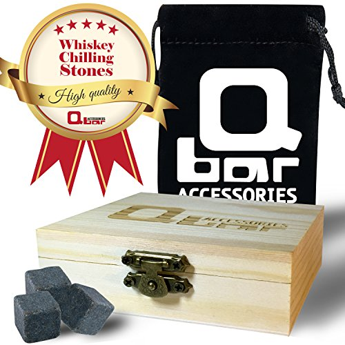 Q bar Accessories Whiskey Stones - Gift box w' 9 black Basalt Cube Chilling Rocks - Velvet Storage Pouch - Liquor and Wine Cooler - No More Taste Of Water - Premium Wooden Box - Free Ebook Bonus (Round Rolling Beverage Cooler compare prices)