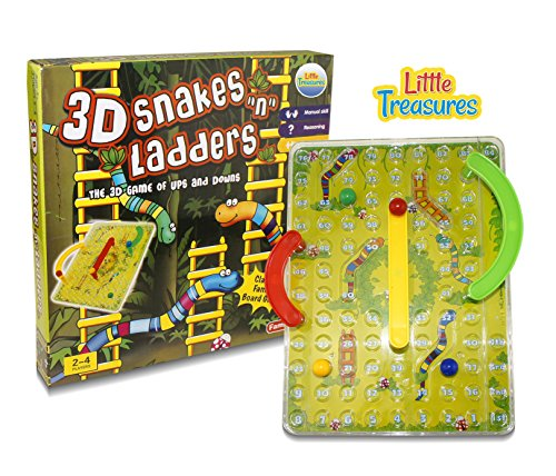 "3D Snakes ""N"" Ladders Kids Classic Board Game Family Night Fun Cooler Newer Look Then the Original Version. Compare To Chutes and Ladders"