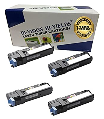 HI-VISION ® Compatible Dell 2150 (1 Black, 1 Cyan, 1 Yellow, 1 Magenta, 4-Pack) for 2150 , 2150cn, 2150cdn, 2155, 2155cn, 2155cdn Color Laser Printer
