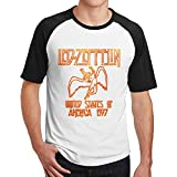 メンズ レッド ツェッペリン 1977 ロック Tシャツ Tシャツ コットン レジャー Medium Black