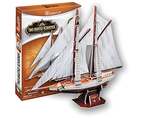3D Jigsaw Puzzle Two-masted?schooner CubicFun 3D Puzzle T4007h 81 Pieces Decorative Fashion Best Seller Cubic Fun ® Exiting Fun Educational Historic Playing Building Game DIY Holiday kids Best Gift Toy Set