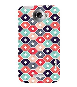 Abstract Hexagonal Design 3D Hard Polycarbonate Designer Back Case Cover for HTC One X