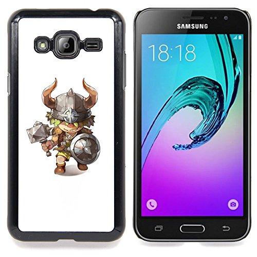- Viking Axe Hammer Horns Kids Character/ Copertura dura Snap On Cell Phone - Cao - For Samsung Galaxy J3