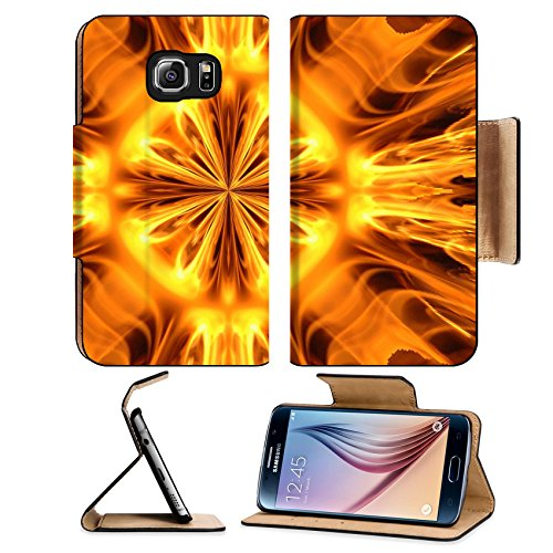 Liili Premium Samsung Galaxy S6 Flip Pu Leather Wallet Case IMAGE ID 4361966 Abstract hot fire peacock feather on dark background
