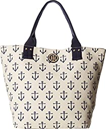Tommy Hilfiger Women\'s Ali - Printed Canvas Shopper Natural/Navy Tote