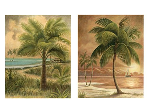 2-ISLAND-PALM-TROPICAL-PRINTS-8x10-SANDY-BEACH-SUNSET