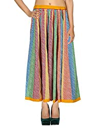 Handmade Casual Skirt Cotton Multicolor Striped Patchwork For Her By Rajrang