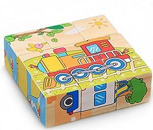 Train transport Sechs gemalt neun Holzpuzzle 3D dreidimensionale Bausteine f¨¹r Kinder Kreative Geburtstagsgeschenk Holz Bildungs-Spielzeug f¨¹r Kinder Weihnachten Spielzeug