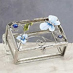 StealStreet SS-A-38107 Butterfly Decoration Jewelry Box, Blue