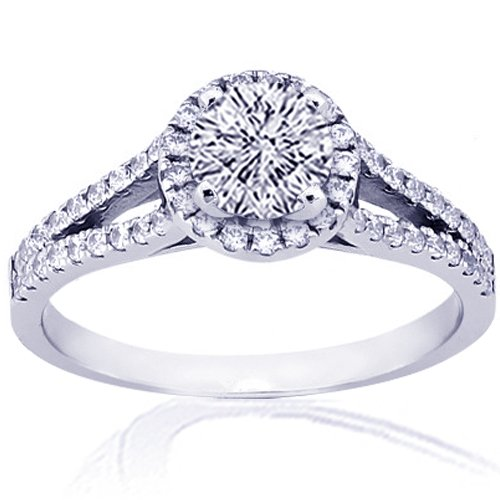 1.45 Ct Round Cut Halo Diamond Engagement Rings