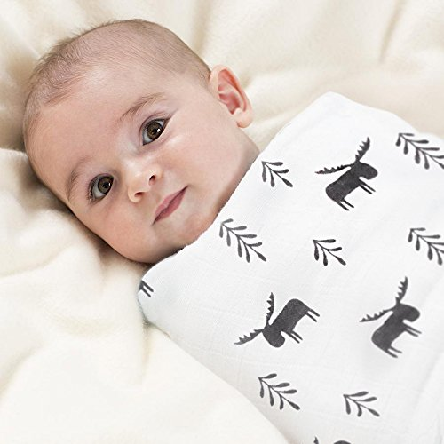 #1 Super Soft and Durable Bamboo and Muslin Cotton Swaddle Receiving Blanket 70% Bamboo for Softness 30% Muslin Cotton for Strength Perfectly Oversized for Comfort and Ease (Moose)