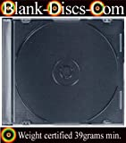 50 x CD/DVD ULTRA SLIMLINE SINGLE JEWEL CASE 5.2MM black tray - Quality 39gram Plastic