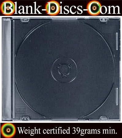 50 x CD/DVD ULTRA SLIMLINE SINGLE JEWEL CASE 5.2MM black tray - Quality 39gram Plastic
