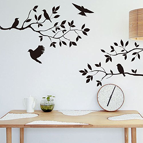 Black Flowers Tree Birds Wall Art Stickers Decal for Home Room Decor Decoration by Rondaful