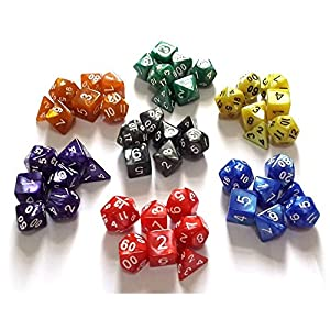 Flyesto Polyhedral 5 x 7-Die Series 5 Colors Game Dice with 4 Sided, 6 Sided, 8 Sided, 10 Sided, 12 Sided, 20 Sided - Assorted Sizes, Perfect for DND, RPG, Magic MTG, Table Gaming with Free Pouch