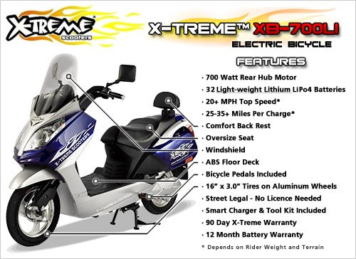 X-Treme Scooters Lithium Powered Electric Bicycle (Blue)