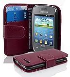 Cadorabo ! PREMIUM - Book Style Hülle im Portemonnaie Design für Samsung Galaxy POCKET NEO (GT-S5310 - NICHT für 2.Generation) in BORDEAUX-LILA