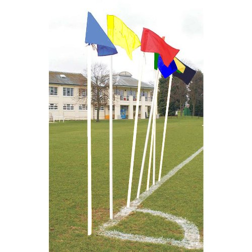 Club White Pitch Corner Poles & single colour Flags (Set of 4), Blue