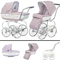 Inglesina SYSTM12PES Classica Pram and Seat with Raincover - Pesca Pink White by Inglesina