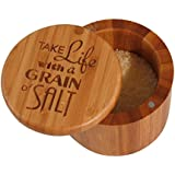 Totally Bamboo Laser-Etched Salt Box, Take Life with a Grain of Salt