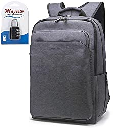 Slim Business Laptop Backpack 17 Inch for Women Men Water Resistant Lightweight Large Padded Durable Ergonomic Professional Quality Cool Urban Stylish Fashion Design + Padlock Bundle (Dark Gray)