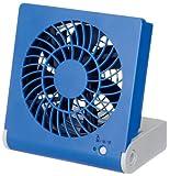 ドウシシャ 3電源(AC,USB,乾電池) 10cm コンパクトデスク扇風機 風量2段切替機能付 ブルー NPM-1081U(BL)