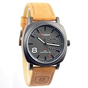 Curren Army Black Dial Beige Strap Watch