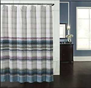 KAS Indio Modern Geometric Striped Fabric Shower Curtain In Navy Blue Teal
