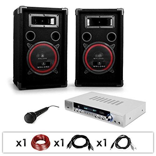 AUNA DJ 11 Dj set professionale karaoke (2 x casse diffusoti altoparlanti 1000 Watt, 1 x amplificatore, 1 x microfono dinamico, 1 x set di cavi)