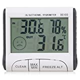 TRIXES Indoor/Outdoor Digital LCD Thermometer and Hygrometer Greenhouse Home (Color: Silver)